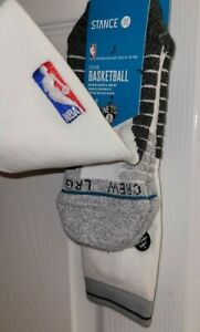 Stance NBA Brooklyn Nets Fusion Basketball Crew Socks Large 9-12 White NEW !