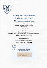 Stanley Mcintosh Chelsea 1930-1936 Extremadamente Rara Original Firmada A Mano De Corte