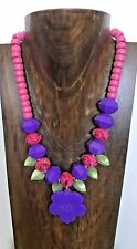 PINK AND PURPLE BEADED FLORAL NECKLACE w GREEN LEAVES