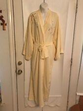 "Vintage Natori Neiman Marcus Yellow Long 53"" Embroidered Kimono Belted Robe Sz"