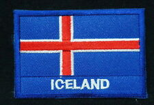 """ICELAND FLAG EMBLEM PATCH SEW ON EASY TO USE 2""""x3"""""""