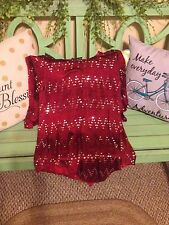 women's red sequin blouse size small
