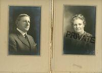 2 Antique Photos in Folder- ROUSE / WAITE Family Older Couple-Norfolk, Nebraska