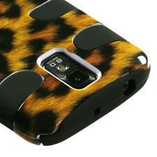 T-MOBILE SAMSUNG GALAXY S 2 II T989 DUAL LAYER 2 TONE HYBRID CASE LEOPARD YELLOW