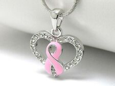 NEW CRYSTAL BREAST CANCER PINK RIBBON HEART PENDANT NECKLACE