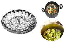 Cuociverdure cesto apribile richiudibile cuoci cibi cottura cibo per pentola new