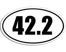 3x5 inch WHITE Oval 42.2 Sticker -decal kilometers run runner marathon running