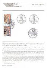 Italia 1999 - A. Volta e la pila. Bollettino 28 con francobollo e annullo FDC