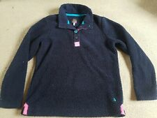 Womens Ladies Size 10 Navy Blue Fleece Jumper Pile Warm Pullover