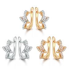HUCHE Birds Wings Style Silver Gold Filled Diamond Gems Women Hoop Earrings Stud