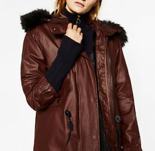 ZARA 2 in 1 PARKA WITH FAUX FUR LINING LARGE FAUX FUR HOOD MANTEL JACKE SIZE M