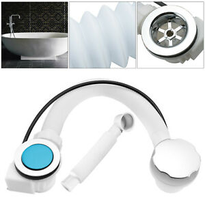 Concealed Bath Overflow Waste Pop-Up Plug & Plastic Pipe Twist Chrome Handle UK