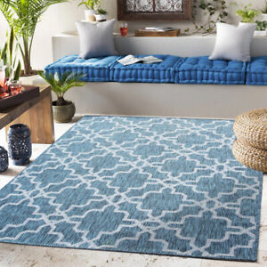 Modern Trellis Washable Rug Blue Indoor Outdoor Rugs Easy Clean Flatweave Mat