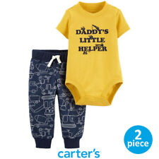 Auth CARTER'S Baby Boy Yellow Construction Bodysuit and Navy Pants Set 12M 18M