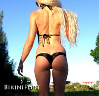 SEXY SKIMPY CHEEKY BLACK MICRO MINI BRAZILIAN BIKINI BOTTOM! NEW! MADE IN USA!!