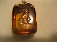 GREYHOUND dog Vintage etched glass intaglio pendant