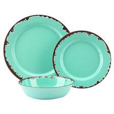 Rustic Melamine Dinnerware Set - 12 Pcs Yinshine Outdoor Camper Dishes Set