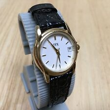 TFX By Bulova Lady Gold Tone Leather Analog Quartz Watch Hours~Date~New Battery