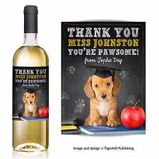Personalised Thank You Teacher Sausage Dog Dachshund Wine Bottle Label