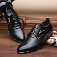 Mens Oxfords Leather Shoes Dress Formal Business Pointed Toe Lace up Shoes size