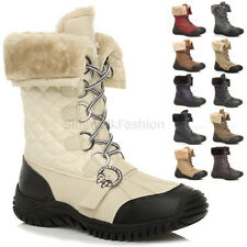 Womens Ladies Low Heel Fashion Flat Snow Winter Fur Lace up Calf BOOTS Size UK 6 / EU 39 / US 8 Chestnut Brown Quilted