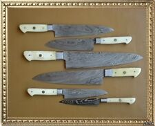 CUSTOM MADE DAMASCUS BLADE 6 Pc's. KITCHEN KNIVES SET A-E 71 - B