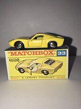 Matchbox Lesney #33 Lamborghini Miura P400 near mint W/original F2 box