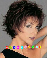 Women wig short Mix Brown Curly Hair Cosplay Party Wig+free wigs cap