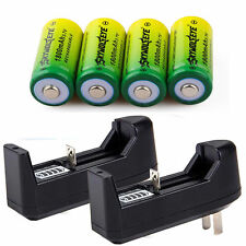 4pcs 1800Mah Li-ion 16340 CR123A Rechargeable Battery + 2x Charger USA