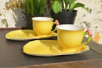Pair 1940/50s Royal Winton Grimwades Tea Cup Supper/Tennis Set Green & Yellow
