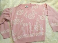 Pink vintage fairy kei style sweater flowers floral 90's babydoll med