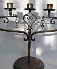 Antique Arts & Crafts Planished Wrought Iron Metal Candelabra Rustic Gothic