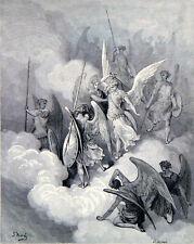 ABDIEL AND SATAN 1885 Gustave Doré - John Milton ANTIQUE ENGRAVING