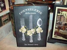 Large French kitchen wall decor plaque chalkboard look Paris chic vintage