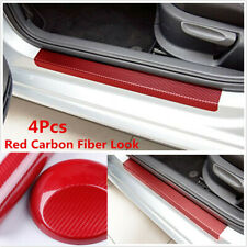Car Red 5D Carbon Fiber Scuff Plate Door Sill Cover Panel Step Protector Guard