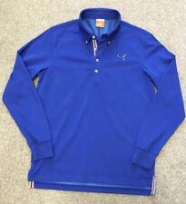 Porté une fois Puma Rétro Style Col Boutonné à Manches Longues Polo Shirt M Medium