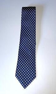 Elegant Blue Hermes Silk Tie - Origami Chicken & Rooster Motif - 5614 MA