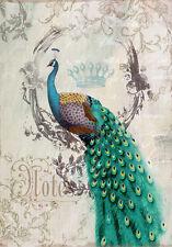 VINTAGE PEACOCK BIRD DECOR * QUALITY CANVAS ART PRINT