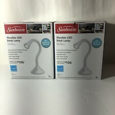 Two SUNBEAM Flexible LED Desk Lamp Light No Bulb to Replace White On/Off Switch