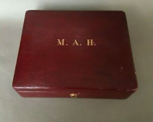 large ANTIQUE RED LEATHER JEWELLERY BOX Morocco Victorian vintage quality