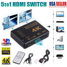 5 To 1 HDMI Splitter Selector Switch Adapter 3D HD 1080p 4K 5 Port IR Remote Hub