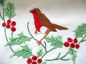 VINTAGE ROBINS, HAND EMBROIDERED TABLECLOTH FOR CHRISTMAS-LINEN