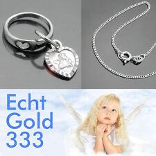 Baby Taufe Herz im Ring Schutzengel Taufring Weiß Gold 333 mit Kette Silber 925