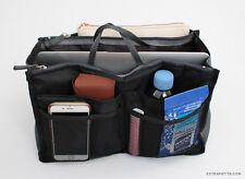 Purse Organizer Bag Insert Multi-Pockets Black & Gray Medium Liner For Handbag