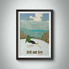 More details for zell am see austria snowboarding travel poster - framed - bucket list prints