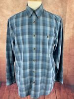 Orvis Long Sleeve Button Down Blue Colorblock Plaid Shirt Men's Medium