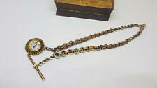 ANTIQUE GOLD PLATED POCKET WATCH CHAIN & COMPASS FOB