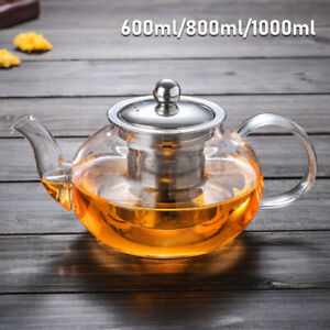 Gas Stove Heatable Glass Teapot Glass Kettle With Glass Infuser Tea Maker 3 Size
