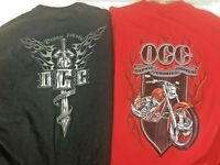 LOT 2 OCC Orange County Choppers Black Red Long Sleeve T-Shirt  Men's Size XL