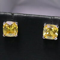 Solitaire Citrine Stud Earrings Women Engagement Jewelry Gift Sterling Silver